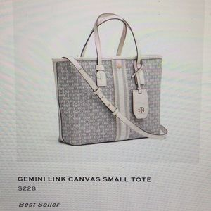NWT. New!! Small Tory Burch Gemini Canvas Tote